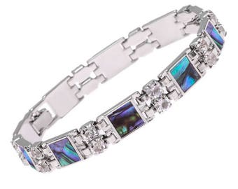 Tide Jewellery Paua Shell Square Bar Bracelet Gift Boxed