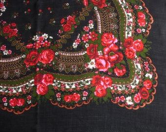 Russian Wool Scarf Vintage cashmere Shawl black red pink floral pattern Babushka Shawl Vintage Boho Scarf Black Shawl with Floral Pattern