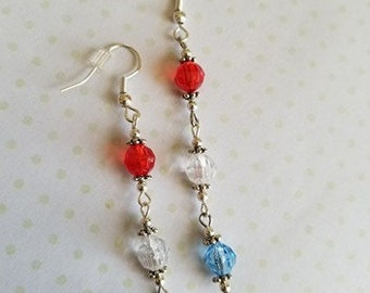 Red White and Blue Fourth of July Cascading Earrings