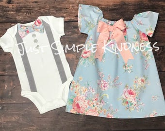 Baby Boy & Baby Girl Twin Outfit, Easter Outfit, Twins Summer, Twin Outfit, Boy and girl Twins, coming home, new baby, twins