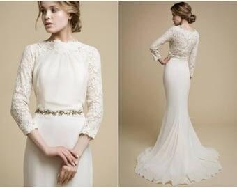 APAKENA long sleeve wedding dress boho wedding dress lace wedding dress mermaid wedding dress mermaid Modern wedding dress wedding gown