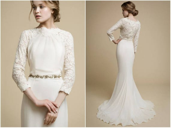 Apakena long sleeve wedding dress boho wedding dress lace for Skin tight wedding dresses