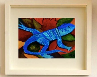 Lizard painting ACEO Card Original painting Miniature Art ACEO Miniature artwork Collectable art Original ACEO Acrylic lizard Original art