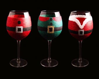 6 Christmas Glitter Wine Glass Characters, Santa Glass, Glitter Wine Glass, Christmas Glasses, Festive Barware