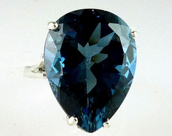 Very Large Rare Natural Pear Shape London Blue Topaz Ring 925 Sterling Silver 20x15 MM