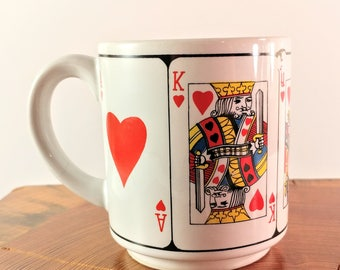 Vintage Intrepur Made in Korea Royal Flush Playing Cards Gambling Coffee Mug. Ace, King, Queen Jack & 10 of Hearts. Man Cave. Gift for Him.