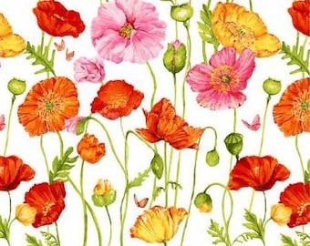 Poppy floral fabric, poppy fabric, summer floral fabric, Poppy Garden Fabric