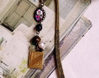 Gemstones and pearl Locket charm bookmark Beaded bookmark Antique gold Boho bookmark Jewelry bookmark