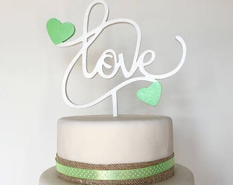 Cake topper LOVE in cream and pink