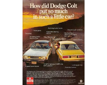 Vintage 1976 magazine poster  advertisement for Dodge Colt  --7