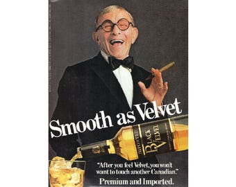Vintage poster ad for Black Velvet with George Burns