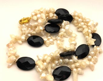 Vintage Genuine White Keshi Potate Pearl & Facet Black Onyx Necklace Handmade 3 Row Nice (FN118)