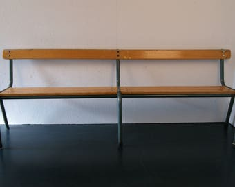 Children's Large Vintage School Bench with Wooden Seat and Green Metal Legs - children's Furniture