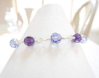 Purple Crystal Bracelet, Swarovski Crystal Tanzanite & Purple Velvet Bracelet, Sterling Silver Wire Wrapped Jewelry, Bead Link Bracelet