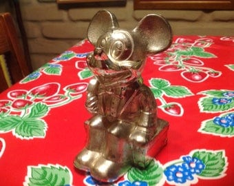 Vintage 1960's Walt Disney Mickey Mouse Silver Plated Metal Bank By Leonard, Japan