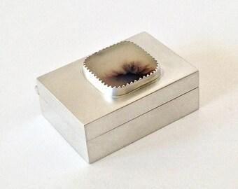 Sterling Silver Pill/Presentation Box With Dendritic Quartz Cabochon - Bezel Set Dendritic Quartz Cabochon - Treasure Box