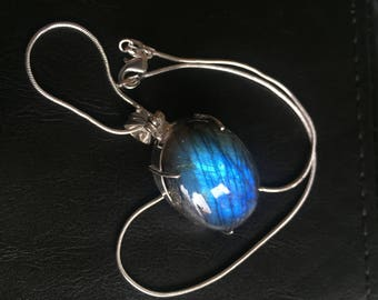 Blue labradorite/moonstone Pendant Necklace - Labradorite Necklace - Vintage labradorite pendant Necklace - Labradorite Necklace