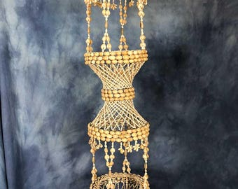 """Gorgeous Large 48"""" Vintage Macrame Seashell Double Hanging Plant Holder, 1970s Two Tiered"""