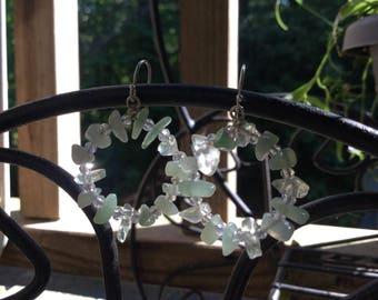 Aventurine  Circle Earrings / Aventurine Earrings / Beaded Silver Earrings