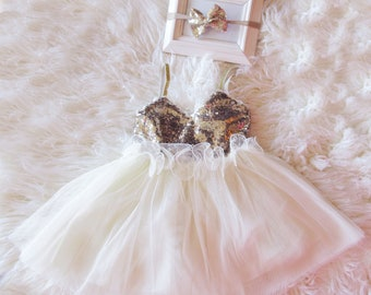 Baby Girl First Birthday Outfit-Ivory gold sequin Tutu Dress, 1st birthday dress- baby dress- first birthday dress- birthday dress-