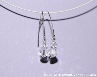 SWAROVSKI white bicone crystal earrings / 925 sterling silver