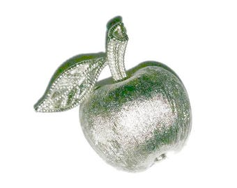 TRIFARI APPLE Brooch Vintage SILVER Crown Trifari Forbidden Fruit Pin Favorite Teacher Apple Lover Gift 50s Designer Vintage Jewelry Broach