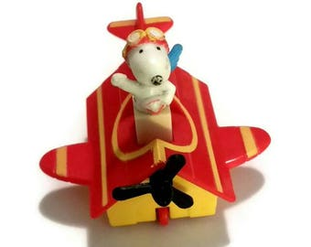 RARE SNOOPY Flying Ace Plane Toy Doll 60s PEANUTS Gang Mini Action Figure Dog Pilot Figurine 1960s Charlie Brown Beagle Airplane Pilot Gift