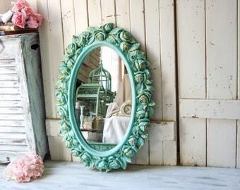 Aqua Homco Rose Oval Mirror, Teal and Gold Rustic Oval Mirror with Flowers, Nursery Mirror, Bathroom Mirror, Wedding Mirror, Shabby Chic