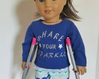 Graphic blue long sleeve shirt, multi colored chevron leggings, 18 inch leggings, 18 inch doll shirt, American made girl doll clothes,