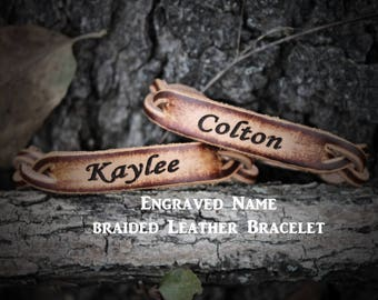 Custom Bracelet, Braided Bracelet,  Personalized Leather Bracelet, (One Bracelet), His or Her Bracelet, Engraved Leather Bracelet