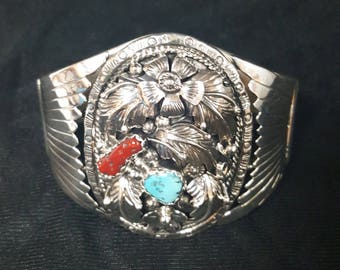 Sterling Silver Cuff Sleeping Beauty Red Coral