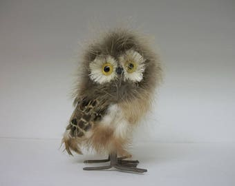 Vintage Owl Sculpture - Paper Mache and Real Feathers - Baby Owl Small Owl Owlet Figurine Collectible Bird of Prey Knick Knack