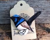 Australian Fairy Wren Brooch, Ceramic, Handmade, Hand painted
