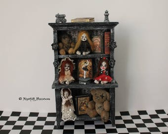 RESERVED FOR JACQUELINE Dollhouse Miniature Nursery creepy doll forgotten toys distressed dresser in 1:12 scale