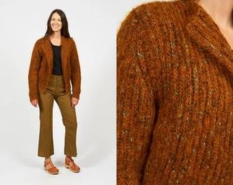 Rust orange cardigan | Etsy