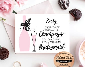 Will You Be My Bridesmaid Mini-Champagne Bottle Labels DIY