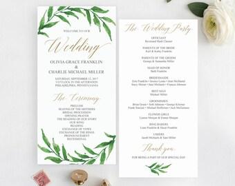 Greenery Wedding Programs Template - Printable Wedding Program -  Wedding Program Printable - Editable Wedding Program - Instant Download