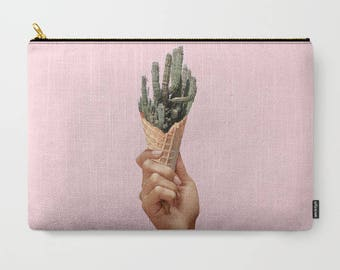 Cosmetic bag - Cactus makeup bag -  Large bag