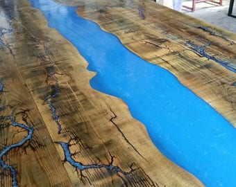 Modern Dining Table Solid Hardwood , River Top Epoxy Resin Trees Leaves