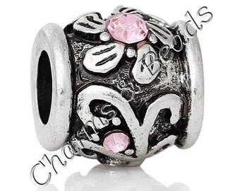 rose 1 metal and rhinestone flower charm bead compatible pandor chamili