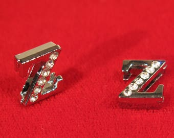 """10pc """"letter Z"""" 8mm slide charms in antique style silver (BC1375-Z)"""