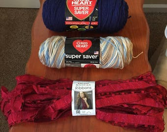 Red Heart Brand Mixed Lot of Assorted Yarns