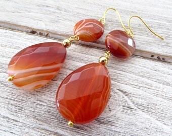 Orange carnelian earrings, agate drop earrings, gemstone earrings, dangle earrings, contemporary jewelry, summer jewelry, italian jewelry