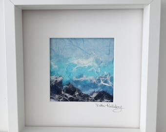 Stormy Seas. Original mixed media. Shades of Blue.