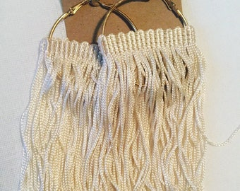 Gold hoop earrings with Cream fringe
