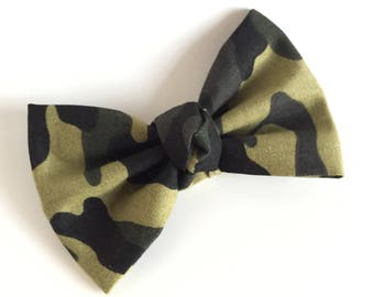 Fabric Bow - Camouflage - Green Camo