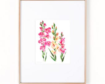 Flower Painting Art Print by Michelle Mospens, Flower Print, Abstract Floral Print, Gladiolus Flowers
