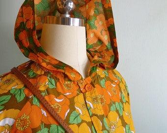 Vintage 1970s Poppy Orange- Orange Mod Rainboat Hoodie shirt XS or S