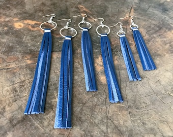 Royal Blue Leather Tassel Earrings, Leather Fringe Earrings, Leather Earrings, Statement Gift for Her, Blue Leather Jewelry, Free Shipping