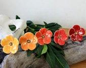 Bouquet «Afterglow», les fleurs en céramique, 5 pièces